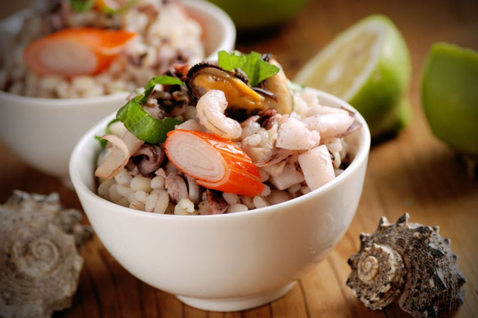 Hulled Barley Shrimp Salad