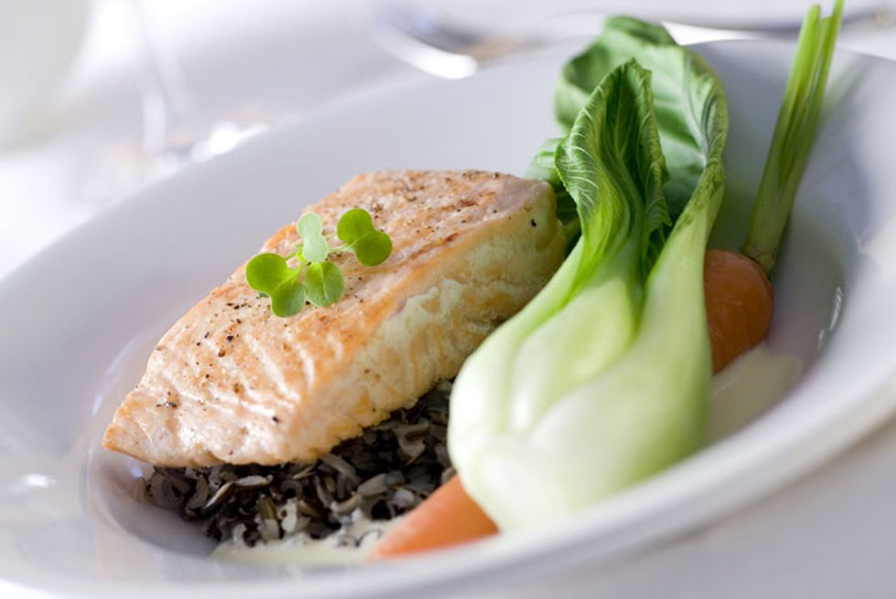 Wolfgang Puck's Asian-Style Steamed Salmon With Baby Bok Choy and Brown Rice