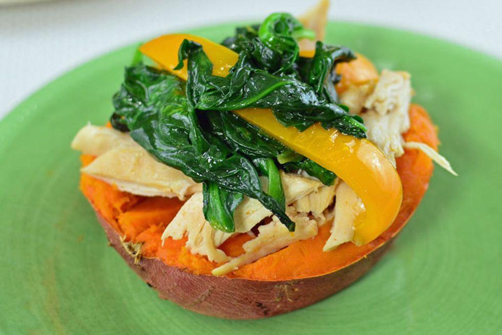 Paleo-Friendly Chicken Spinach Stuffed Sweet Potatoes