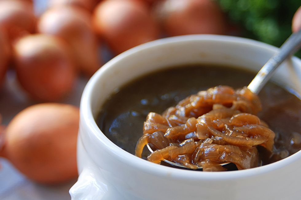 Roasted Apple and Onion Soup With Blue Cheese and Walnuts