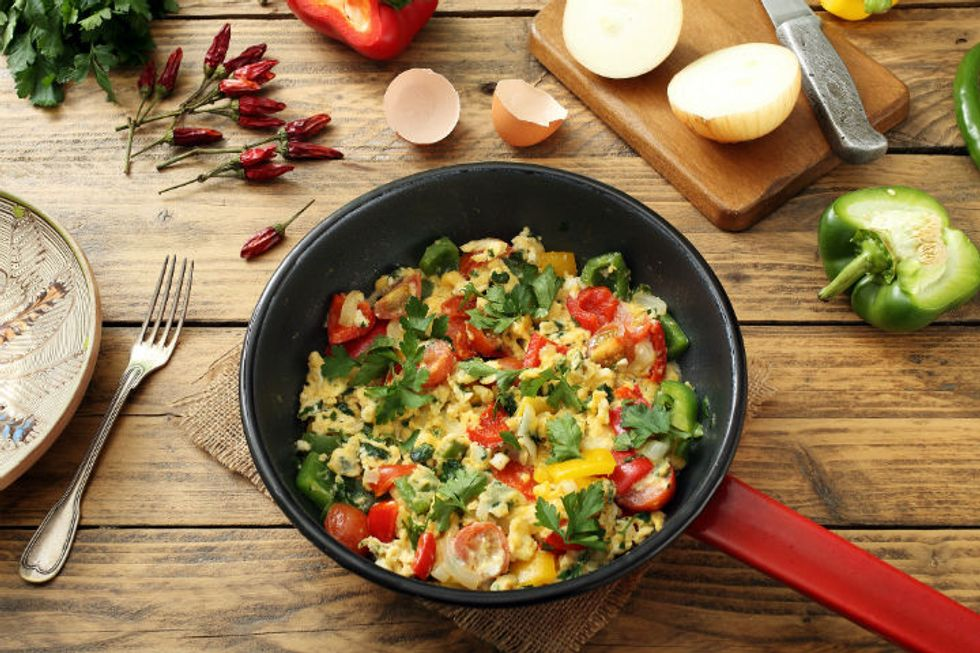 Mushroom and Sun-Dried Tomato Scrambled Eggs