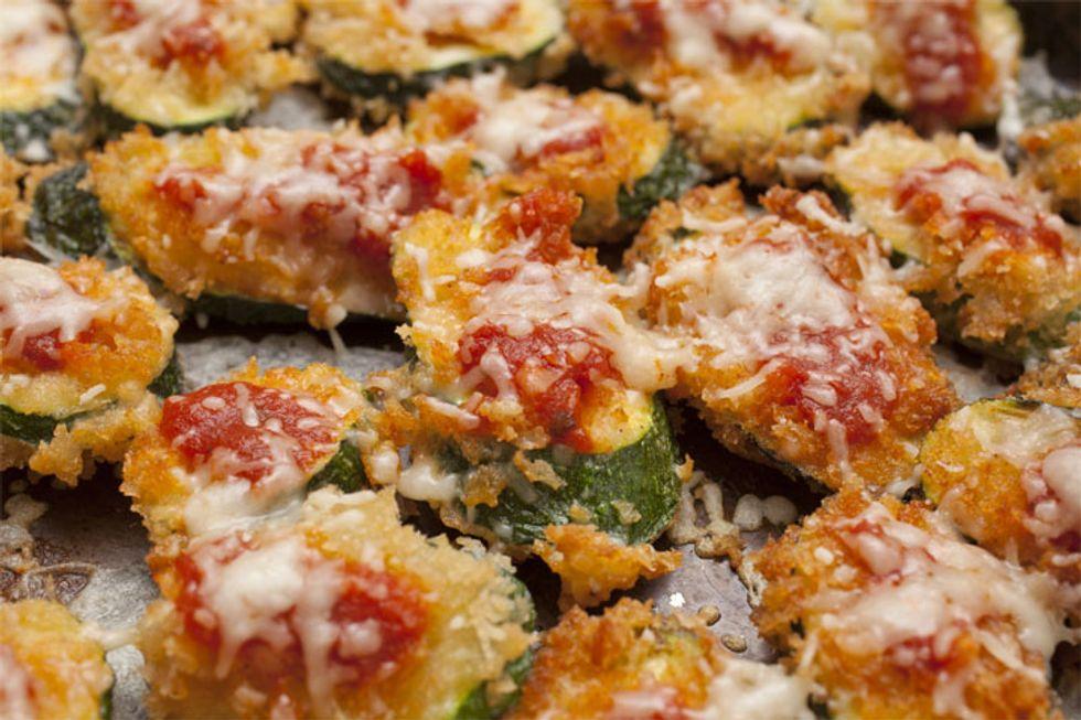 Robert Irvine's Zucchini and Turkey Sausage Pizza Bites