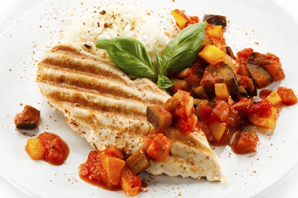 Rocco DiSpirito's Chicken With Glazed Eggplant and Cauliflower Rice