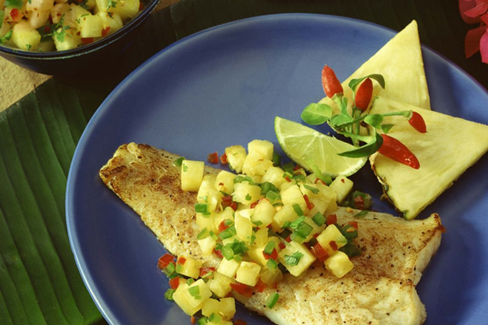 Hungry Girl's Day-Off Diet Fruity Fish and Potato Pack With Side Salad