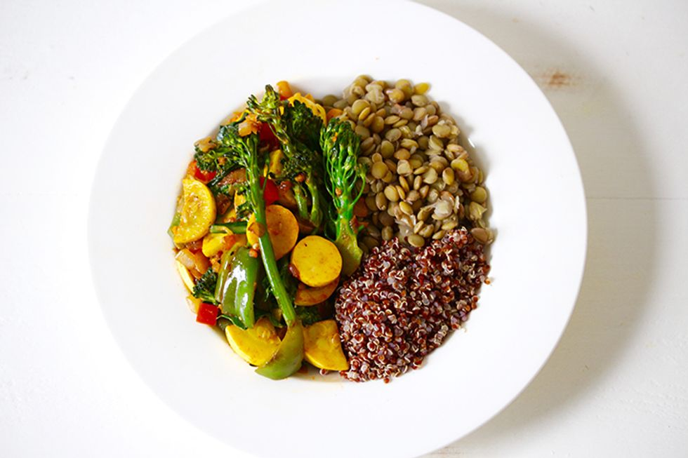 The 28-Day Shrink Your Stomach Challenge Lentil Quinoa Bowl