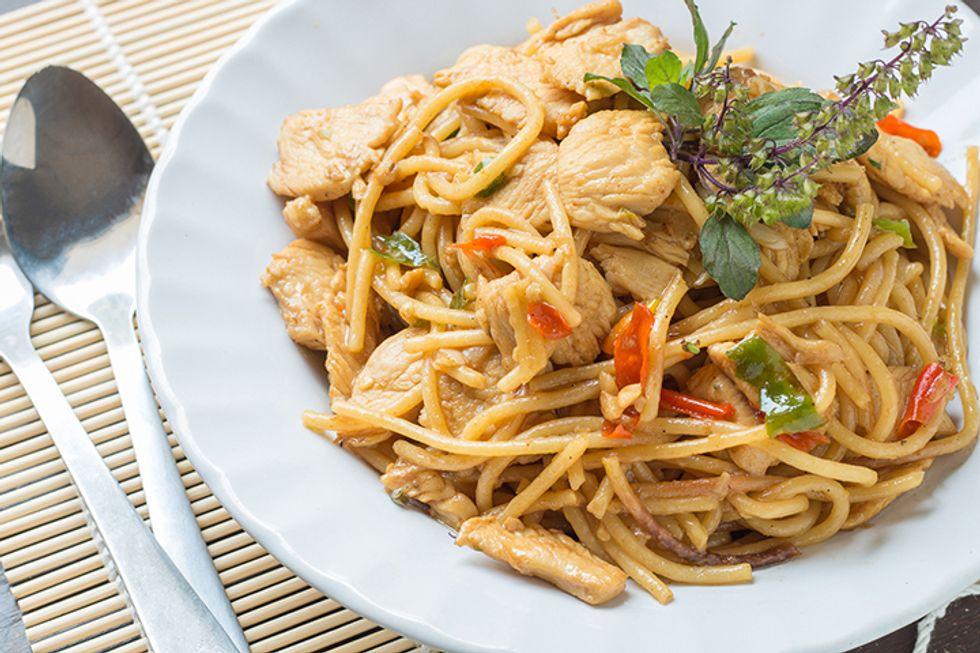 Spiraled Vegetable Drunken Noodles With Chicken and Shrimp
