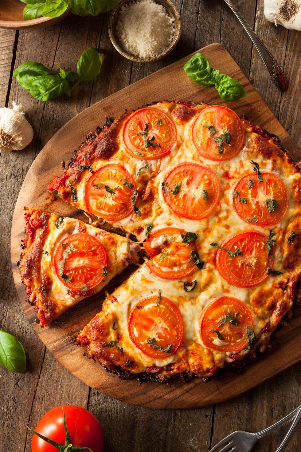 Tia Mowry's Tomato & Basil Cauliflower Pizza
