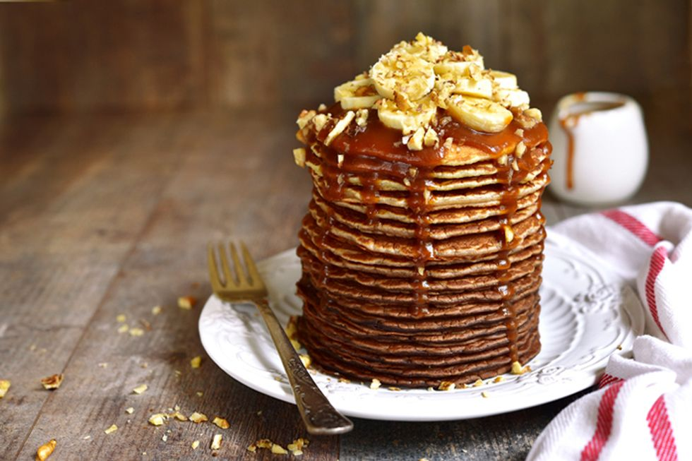 Sam Talbot's Ripe Banana and Dark Chocolate Pancakes With Warm Syrup and Coconut Cream