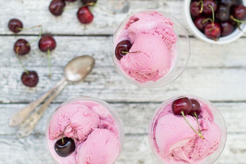 Cherry and White Chocolate Frozen Yogurt