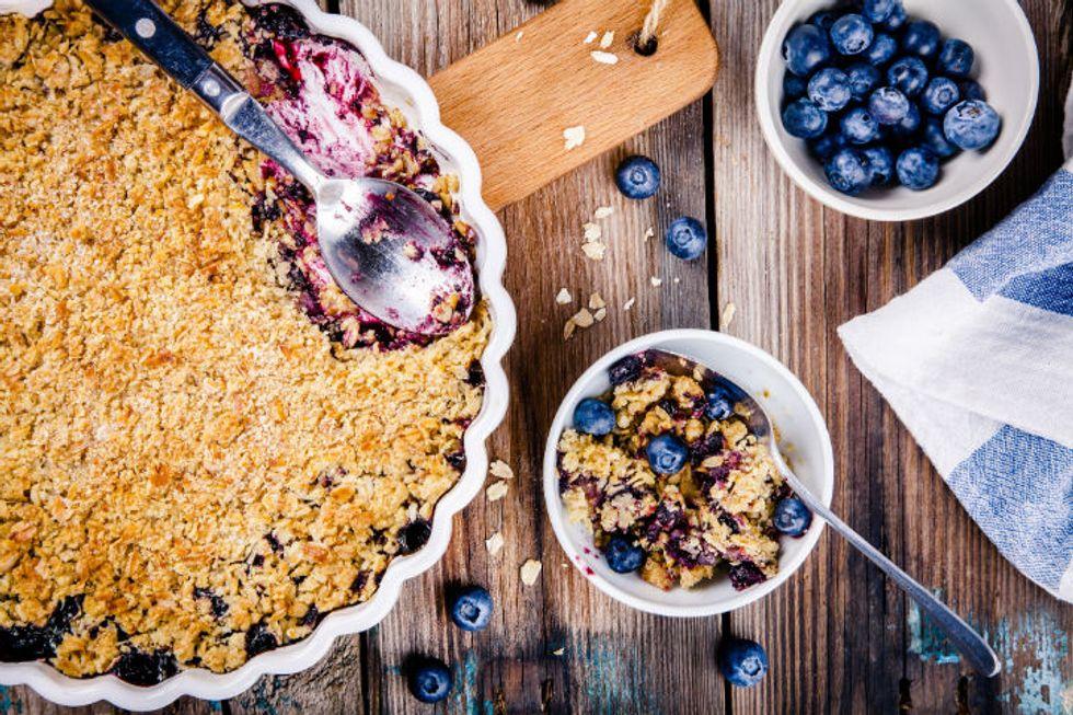 Valerie Bertinelli's Individual Blueberry-Nectarine Crumbles with Honeyed Lime Yogurt