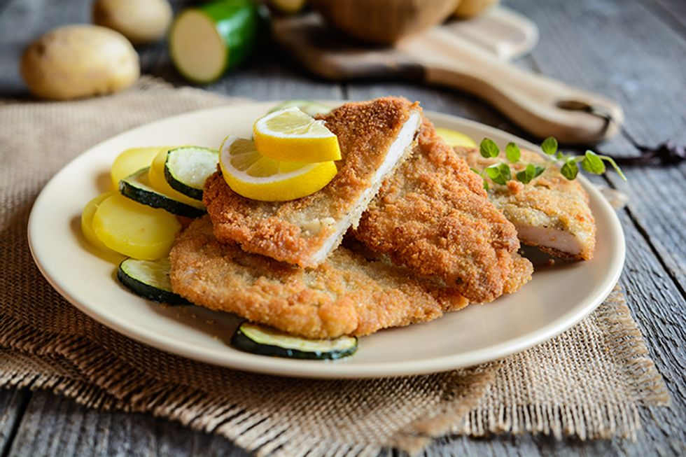 """""""Breaded"""" Turkey Cutlets and Collards"""