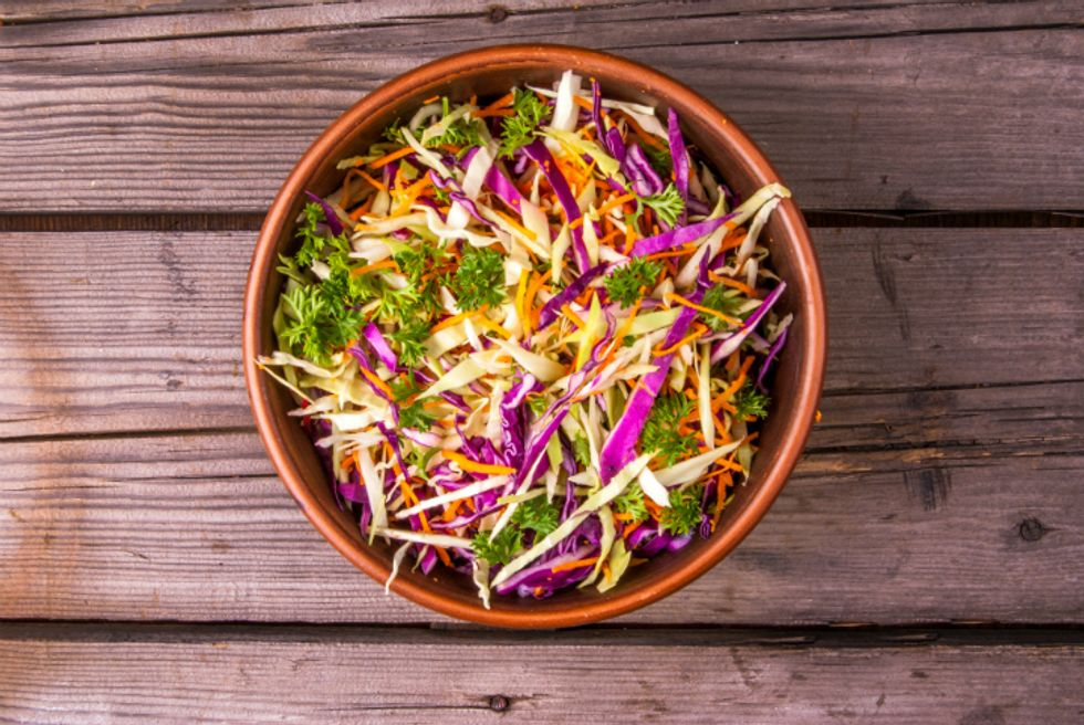 Red Cabbage and Cantaloupe Bowl