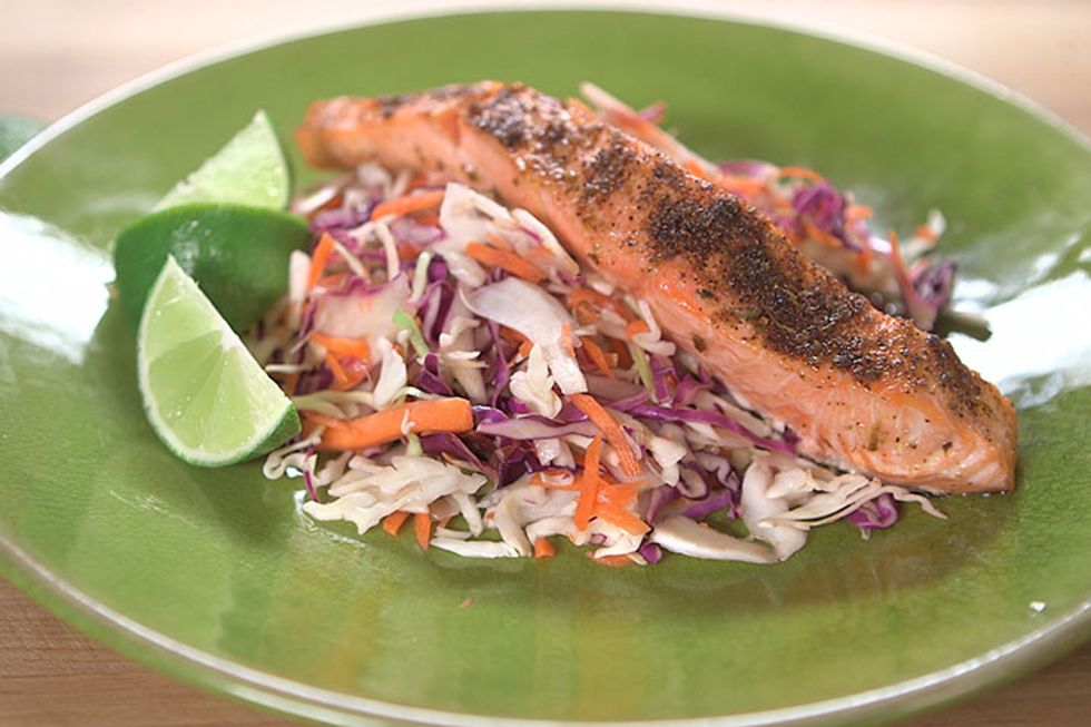 Roasted Salmon with Mojito Slaw Recipe