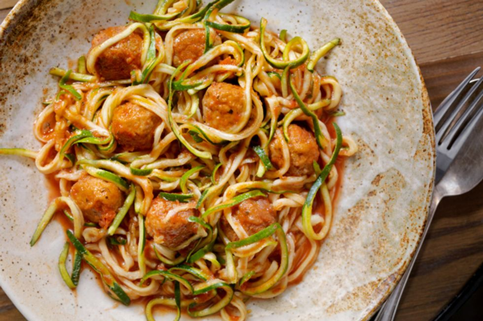 Bacon Meatballs Over Zoodles