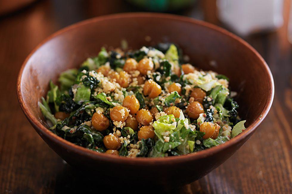 """Iceberg Caesar Salad With Crispy Parmesan-Chickpea """"Croutons"""""""