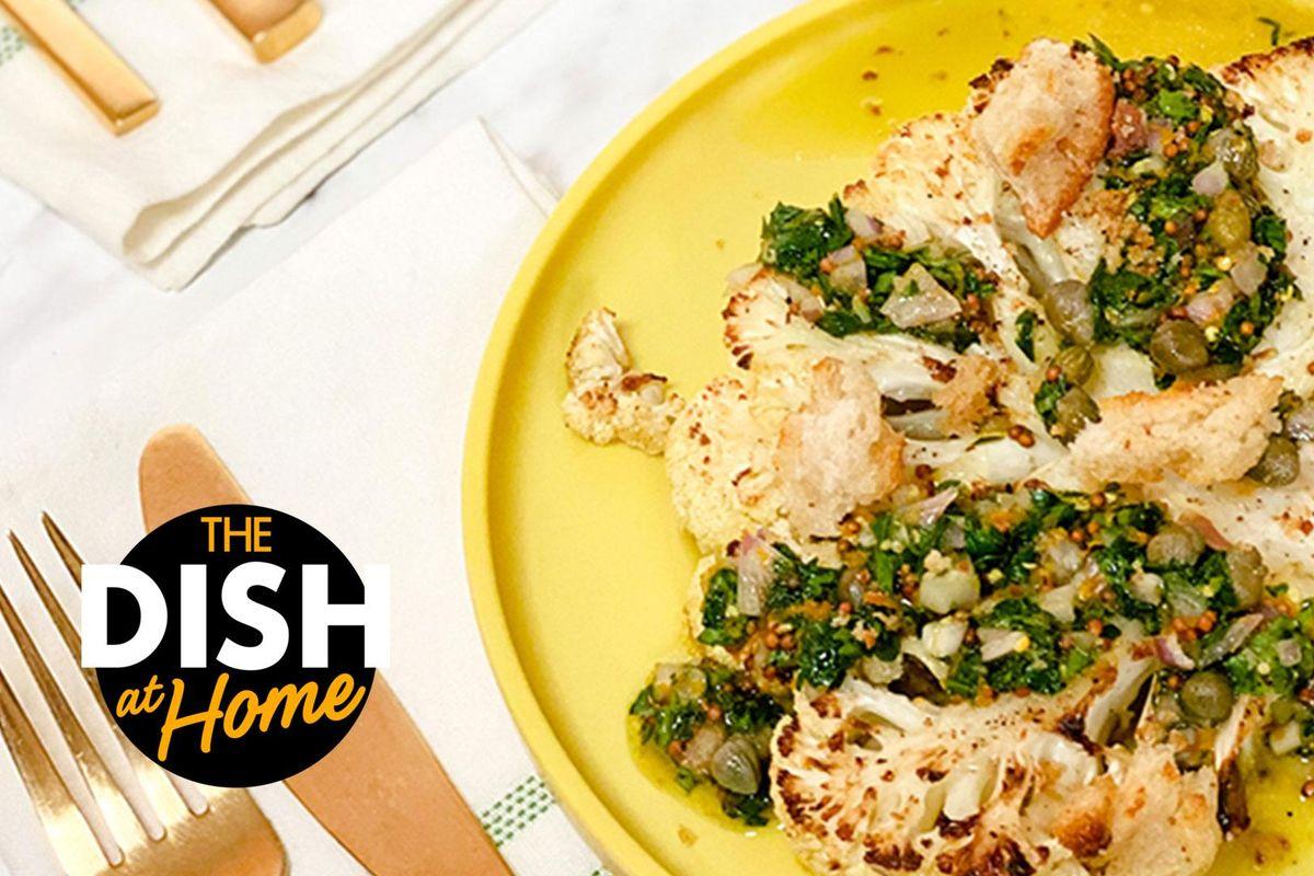Meatless Dinner: Roasted Cauliflower Steaks With Grainy Mustard Sauce