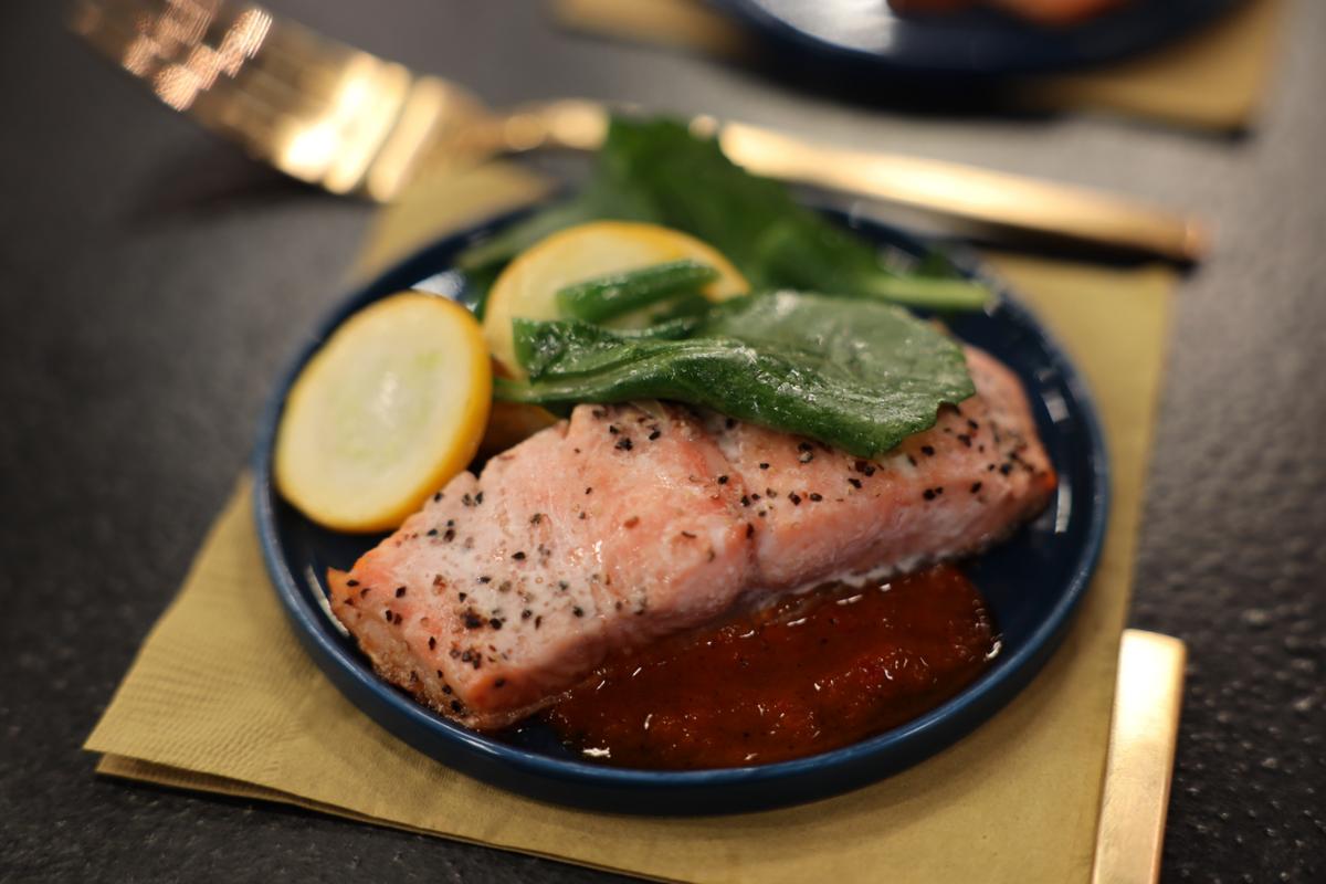 Pan-Seared Salmon With Kale & Squash Panzanella Salad