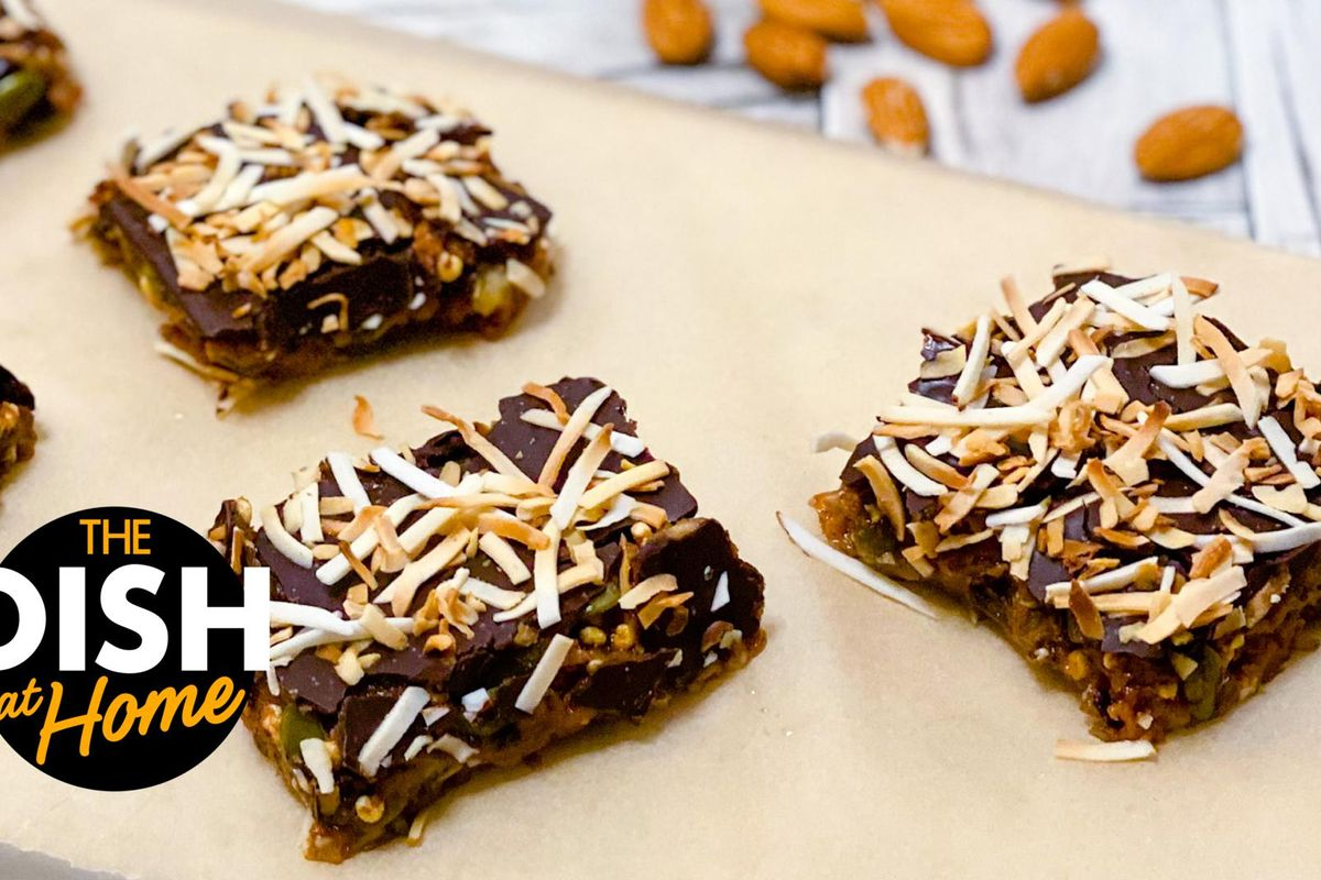 The Dish at Home has a recipe for puffed quinoa bars topped with almond butter, chocolate and toasted coconut.